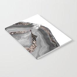 Gray Agate Rose Gold Glitter Glam #1 #gem #decor #art #society6 Notebook