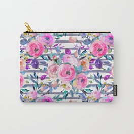 Pink mauve lilac hand painted watercolor roses floral stripes Carry-All Pouch