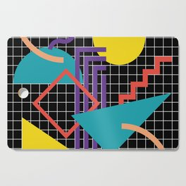 Memphis Pattern - 80s Retro Black Cutting Board
