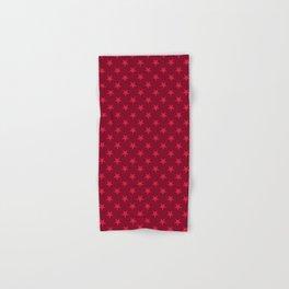 Crimson Red on Burgundy Red Stars Hand & Bath Towel