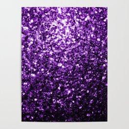 Beautiful Dark Purple glitter sparkles Poster