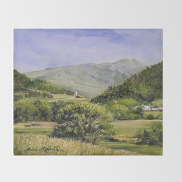 Pastures and Mount Mansfield Oil Landscape Vermont Painting Throw Blanket