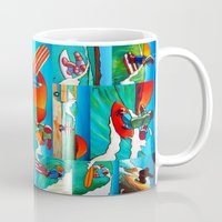 surfing Mugs featuring Surfing by Ollie Longuet