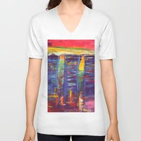 singapore V-neck T-shirts featuring Bayfront Singapore by Kasia Pawlak