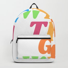 Retro Go With The Flow Chill Vintage Vibes Print Backpack