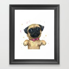 Cute Pug Puppy Dog Watercolor Painting Framed Art Print