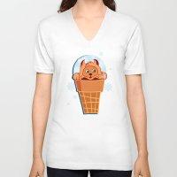 kitten V-neck T-shirts featuring Kitten by Lanka69