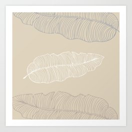 Tan Banana Leaves Pastel Colors Art Print