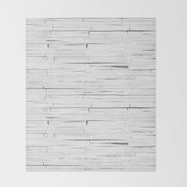 White Wooden Planks Wall Throw Blanket