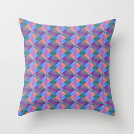 Cross shaped bright pink squares and triangles in violet. Throw Pillow