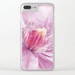 Clematis pink macro 086 Clear iPhone Case