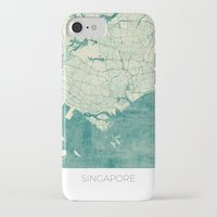 singapore iPhone & iPod Cases featuring Singapore Map Blue Vintage by City Art Posters