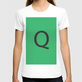 Letter Q Initial Monogram - Black on Nephritis T-shirt