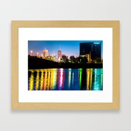 Colorful Lights of Indianapolis Skyline Nights Framed Art Print