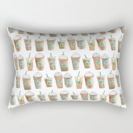 Coffee Cup Line Up in White Cream Rectangular Pillow