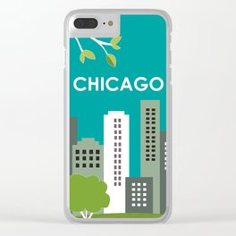 Chicago, Illinois - Skyline Illustration by Loose Petals Clear iPhone Case