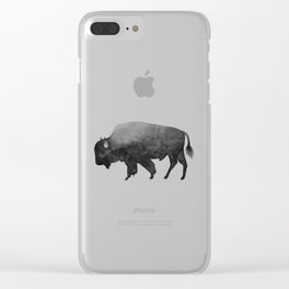 Charcoal Bison, Watercolor buffalo Clear iPhone Case