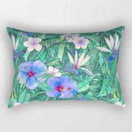 White Bird of Paradise & Blue Hibiscus Tropical Garden Rectangular Pillow