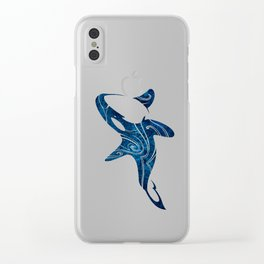 Tribal Orca 2 (blue) Clear iPhone Case