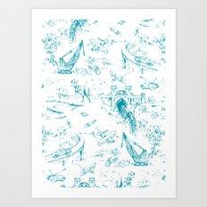 ADVENTURE TOILE BLUE Art Print
