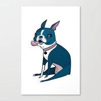 boston terrier Canvas Prints featuring Boston Terrier by breakfastjones