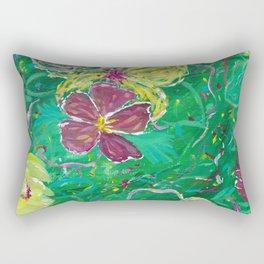 Green Abstract Painting Rectangular Pillow