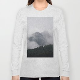 Twin Mountain Peaks Foggy Misty Pine Forest Landscape Photography Long Sleeve T-shirt