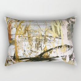 Armor [9]:a bright, interesting abstract piece in gold, pink, black and white Rectangular Pillow
