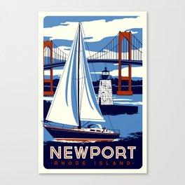 Newport Rhode Island Sailboat Lighthouse Retro Vintage nautical  Canvas Print