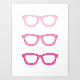 Smart Glasses Pattern - Pink Art Print