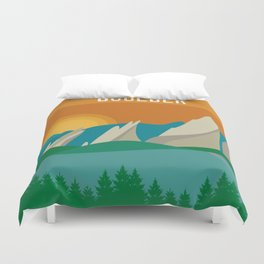 Boulder, Colorado - Skyline Illustration by Loose Petals Duvet Cover