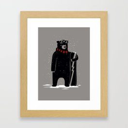 Bear on snowboard Framed Art Print