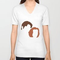 dana scully V-neck T-shirts featuring Mulder and Scully, X-Files by bees
