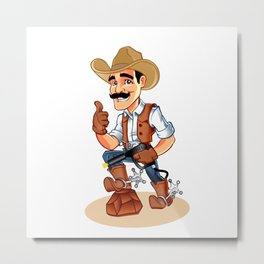 Illustration of a cowboy  with pistol Metal Print
