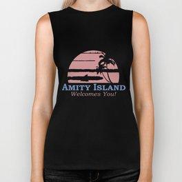 Amity Island Welcomes You Jaws Retro Movie 70s 80s Men Women Unisex 70s Biker Tank