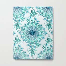 Mint and Teal Boho Nature Mandala Metal Print