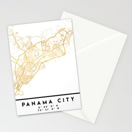 PANAMA CITY STREET MAP ART Stationery Cards