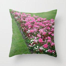 English Flower Beds Throw Pillow