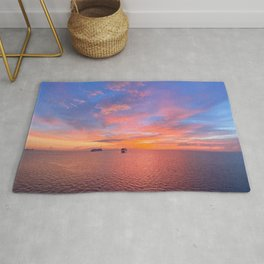 Pacific summer sunset with cruise ships at anchor in Manila Bay, Philippines  Rug