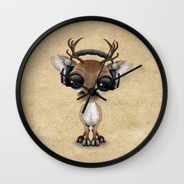 Cute Musical Reindeer Dj Wearing Headphones Wall Clock