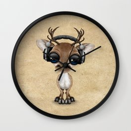 Cute Musical Reindeer Dj Wearing Headphones Wall Clock