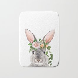 Baby Rabbit, Bunny With Flower Crown, Baby Animals Art Print By Synplus Bath Mat