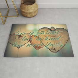 Romantic Wood Hearts Rustic Love Quote Bible Verse Rug