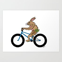 Bicycle Bunny armed with carrots Art Print