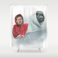 mulder Shower Curtains featuring Mulder and the ET files by Magdalena Almero