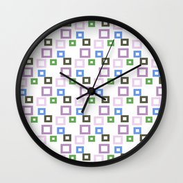 Geometrical lilac lavender blue forest green squares pattern Wall Clock