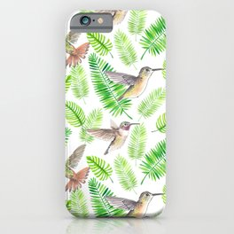 Hummingbirds and tropical leaves iPhone Case