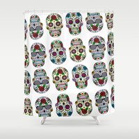 sugar skulls Shower Curtains featuring Sugar skulls by very giorgious
