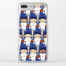 Baseball White and Blue - Super cute sports stars Clear iPhone Case