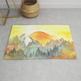 Mountain Glowing Sunset Rug
